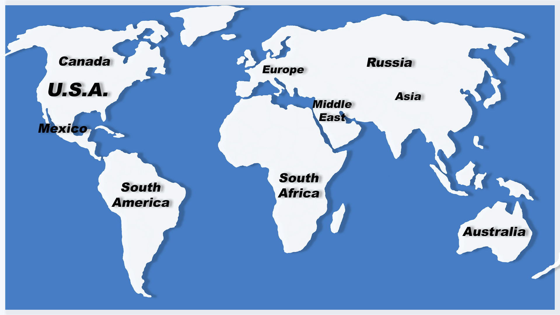 Map Of Europle, Middle East, Africa, Latin America, Canada Ranar Screen Printing Machinery Dealer Network